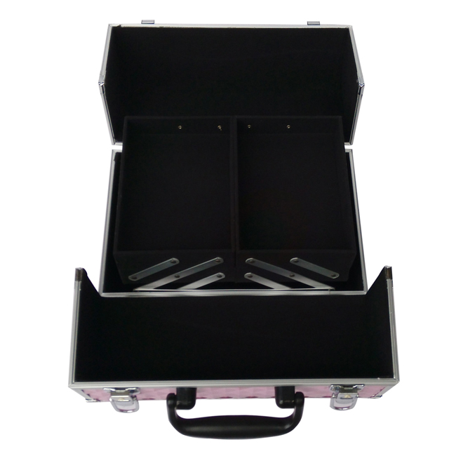 New design aluminum makeup train case with trays