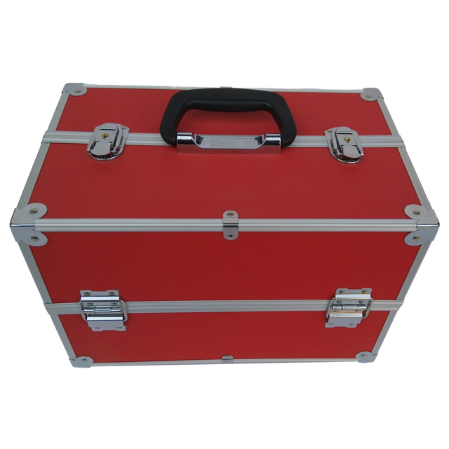 Professional red aluminum makeup case with trays